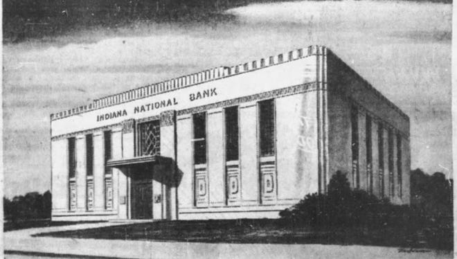 "An image of the ""Maple Road Branch"" of the Indiana National Bank from an ad in the April 17, 1947 edition of The Indianapolis Star."