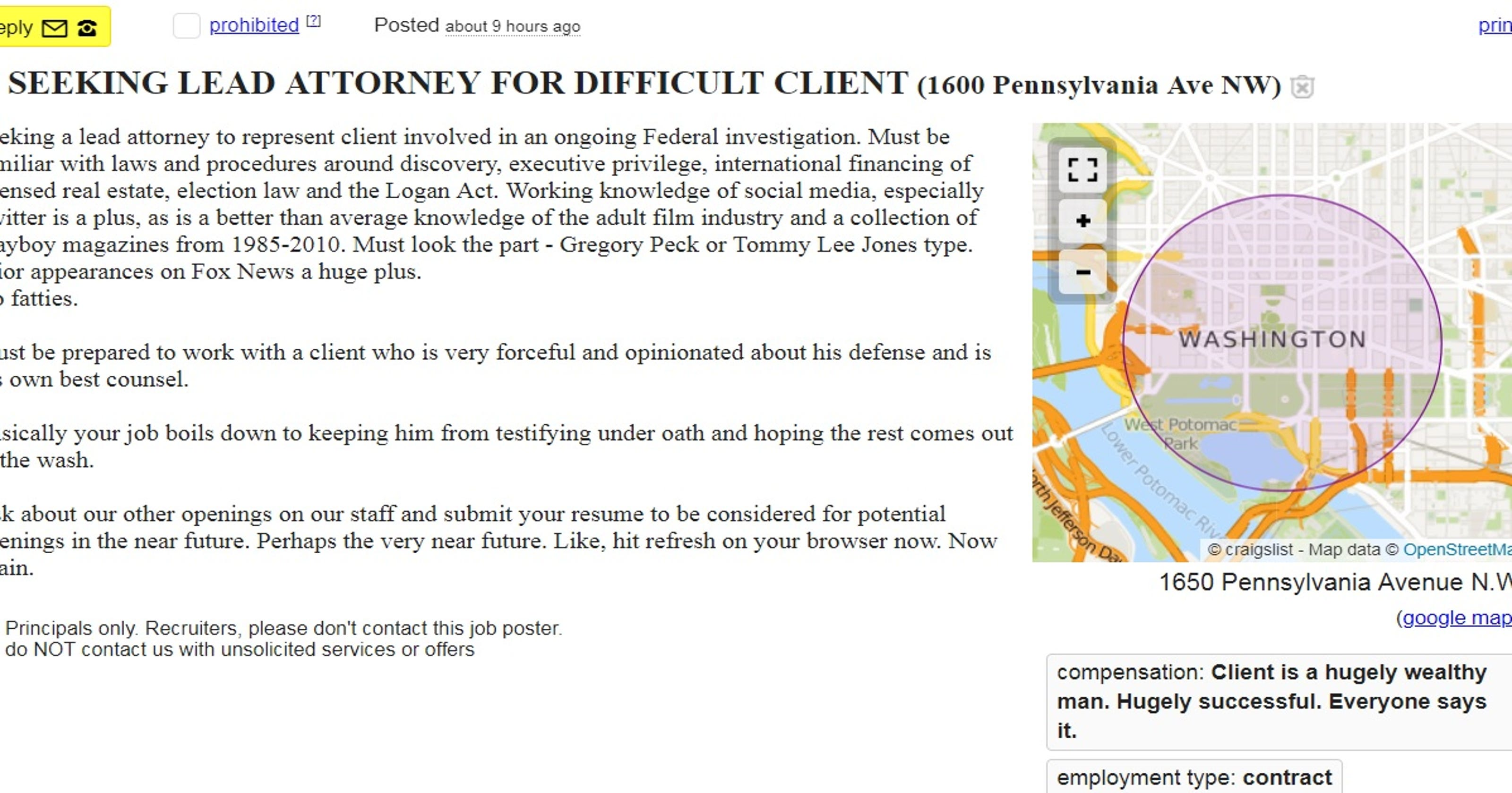 craigslist ad seeking lead attorney for difficult client
