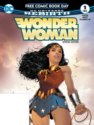 "The cover of the Free Comic Book Day edition of DC's ""DC Universe Rebirth: Wonder Woman,"" to be given away May 6, Free Comic Book Day."