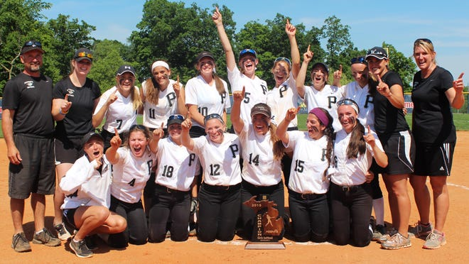 Plymouth celebrates Saturday after winning the first softball regional championship in school history with a 8-0 romp over Woodhaven.