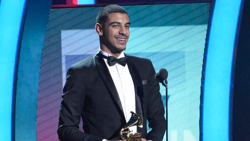 Manuel Medrano accepts the award for best new artist at the 17th annual Latin Grammy Awards at the T-Mobile Arena on Thursday, Nov. 17, 2016, in Las Vegas.