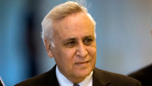 FILE - In this Nov. 10, 2011 file photo, Former Israeli President Moshe Katsav arrives at the Supreme court, in Jerusalem.  Katsav was  released from prison after serving 5 years for rape conviction, Wednesday, Dec.21, 2016.