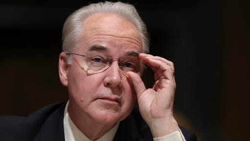 FILE - In this Jan. 24, 2017 file photo, Health and Human Services Secretary-designate, Rep. Tom Price, R-Ga. pauses while testifying on Capitol Hill in Washington at his confirmation hearing before the Senate Finance Committee. Republicans are ready to overpower Democrats and push President Donald Trump's next Cabinet nominee through the Senate, the man who will help lead the GOP drive to erase and replace the health care law. The Senate voted 51-48 Wednesday, Feb. 8, 2017, to short-circuit Democratic delaying tactics against Price, Trump's choice for health secretary.