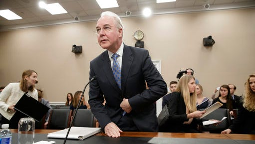 Health and Human Services Secretary Tom Price, a doctor and former congressman, arrives on Capitol Hill in Washington, Wednesday, March 29, 2017, to testify before a House Appropriations subcommittee hearing to outline the Trump Administration's proposals to trim the HHS budget.