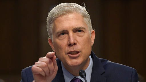 FILE - In this March 21, 2017 file photo, Supreme Court Justice nominee Neil Gorsuch testifies on Capitol Hill in Washington during his confirmation hearing before the Senate Judiciary Committee. A divided Senate Judiciary Committee backed Gorsuch, Monday, April 3, 2017. GOP likely to change Senate rules to confirm him.
