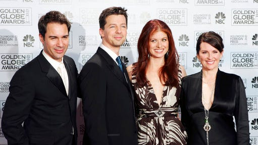 "FILE - In this Jan. 16, 2006 file photo, cast members from the comedy series ""Will & Grace,"" from left, Eric McCormack, Sean Hayes, Debra Messing and Megan Mullally, pose backstage after making an award presentation at the 63rd Annual Golden Globe Awards in Beverly Hills, Calif. Deadline reported on April 5, 2017, that NBC has bumped its order for a revival of the series from 10 to 12 episodes."