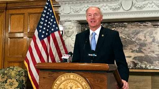 Arkansas Gov. Asa Hutchinson speaks to reporters, Friday, April 28, 2017 in Little Rock, Ark., about four executions the state conducted over an eight day period, the first time the state has put inmates to death in nearly 12 years. Hutchinson said that he sees no reason for anything beyond a routine review of procedures after Kenneth Williams lurched and convulsed 20 times during a lethal injection Thursday night, April 27.