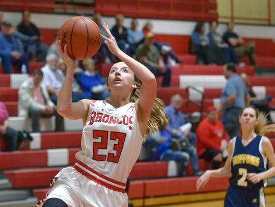 Bellevue's Bailey Whitcomb (23) goes for a layup during