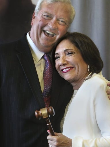 GEORGE TULEY/SPECIAL TO THE CALLER-TIMES Alan Wilson (left), chairman-elect of the United Corpus Christi Chamber of Commerce board of directors, and Rosie Gonzalez Collin, chairwoman of the board of directors, hug at a celebration of the unification of the Corpus Christi Chamber of Commerce and the Corpus Christi Hispanic Chamber of Commerce on Wednesday, Aug. 17, 2016, at the Congressman Solomon P. Ortiz International Center in Corpus Christi.
