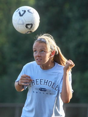 Tom Spader/STAFF PHOTOGRAPHER   Freehold Township?s Nicole Whitley has had three goals and two assists thus far. Freehold,  NJ     Freehold Township preseason soccer practice.  Nicole Whitley   082115