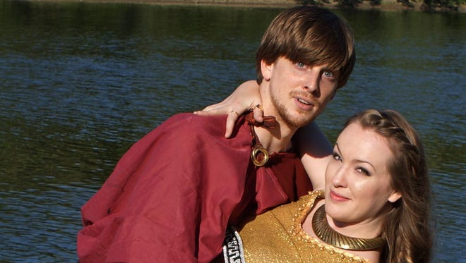 "Josh Sedelmeyer and Jessica Nogaret star in the Cider Mill Playhouse production of ""When in Carthage."""
