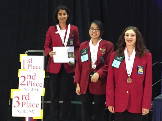Laila Mirza (top) won first place in the prepared speech competition during the 2016 Maryland SkillsUSA Competition.