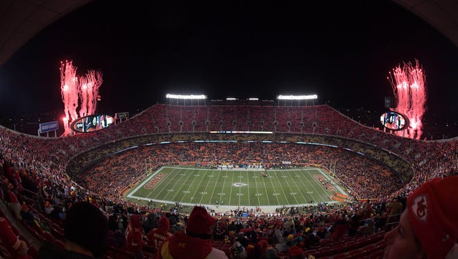 A general view of fireworks during a NFL football game between the Oakland Raiders and the Kansas City Chiefs at Arrowhead Stadium.