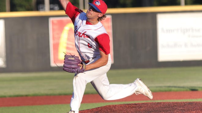 Hays Larks pitcher Trey Riggs tossed three scoreless innings to earn the win on Tuesday night against the Colorado RoughRiders at Larks Park.
