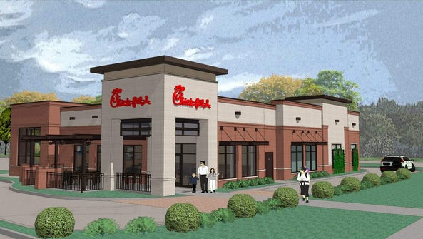 A rendering of a possible Chick-Fil-A location on Monroe