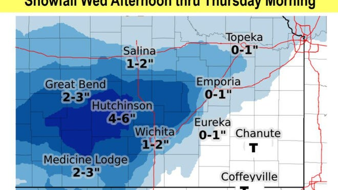 A winter storm is forecast to move in Wednesday afternoon and continue into Thursday morning.