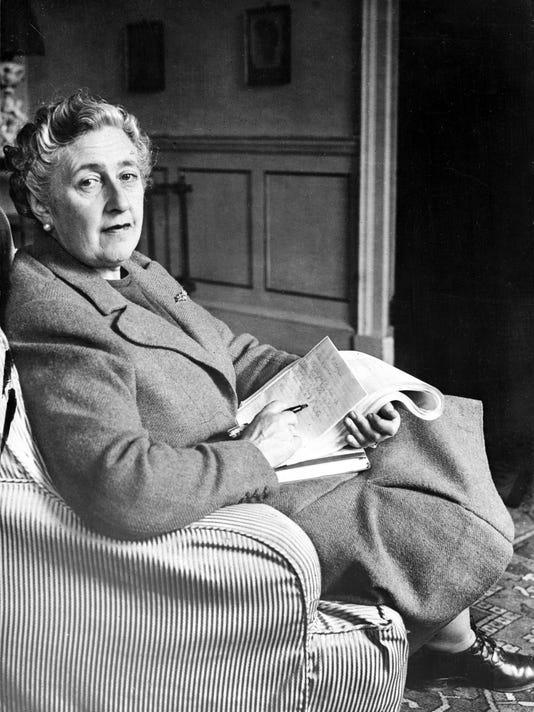 English writer Dame Agatha Christie, pos