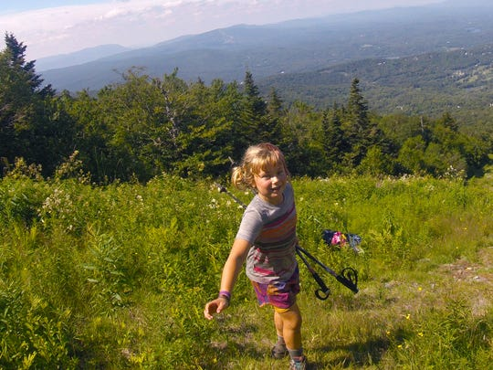 Zella Upton, 9, of Burlington heads down Stratton Mountain after hiking to the summit along the Long Trail with her mom Yarrow. The two are hiking the entire Long Trail this summer and have made it about 120 miles so far.