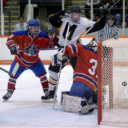 Fairport's Jason White, center, celebrates his second period goal during the Section V Class A Championship played at RIT's Ritter Ice Arena on Sunday, March 1, 2015.
