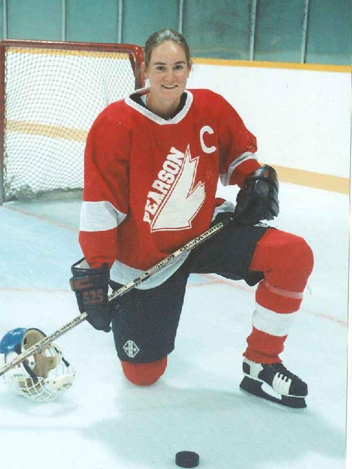 Mowat in her high school hockey days.