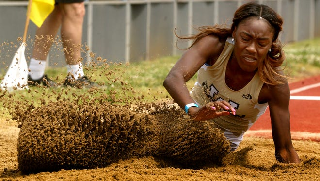 Whitehaven's Kiara Rhodes participates in the long jump as part of the Class AAA pentathlon Monday, May 22, 2017.