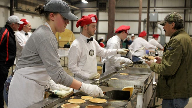 Thousands of pancakes are made during the University Kiwanis Pancake Festival Saturday, Jan. 27, 2018, at the J.S. Bridwell Agricultural Center.