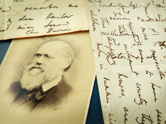 Original letters from Charles Darwin on display in London.