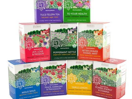 A wide array of herbal teas, including several with