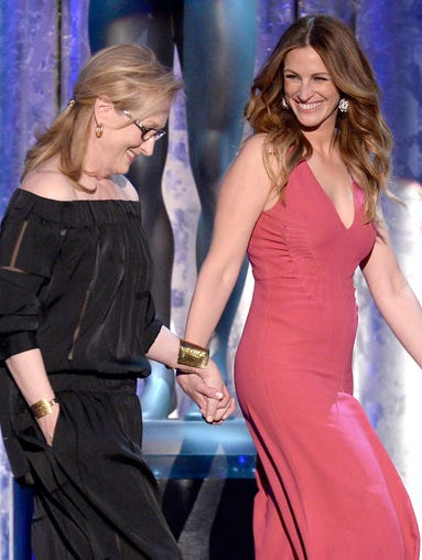 'August: Osage County' stars and Oscar nominees Julia Roberts and Meryl Streep have proven to be the dynamic duo capable of stealing almost every spotlight with their best friendship this awards season. USA TODAY's Andrea Mandell takes a look back at the powerful duo's most memorable Oscar looks.