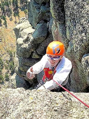 Rob Kelman on his final pitch to the top of Devil's Tower.