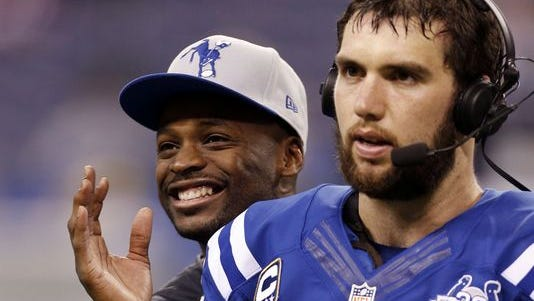 Reggie Wayne (left) stood behind Andrew Luck and the Indianapolis Colts in Saturday's comeback victory.