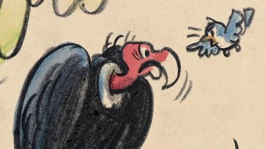 "Sketch of a vulture character that originally was to be featured in the 1959 animated classic ""Sleeping Beauty."""