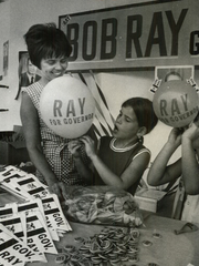 From 1970: Mrs. William Jackson of Des Moines and her daughters Sandra, 8, left and Lisa, 6, man a campaign booth for Iowa Gov. Robert Ray at the Iowa State Fairgrounds.