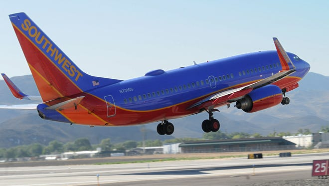 File photo: A Southwest Airlines plane takes off from Reno-Tahoe International airport in 2012.