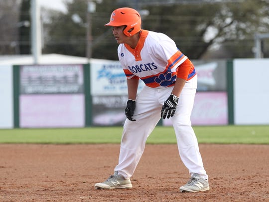 San Angelo Central High School's Ryan Ramon takes a lead off first base during a nondistrict baseball game against Midland High at Nathan Donsky Field on Tuesday, March 6, 2018.