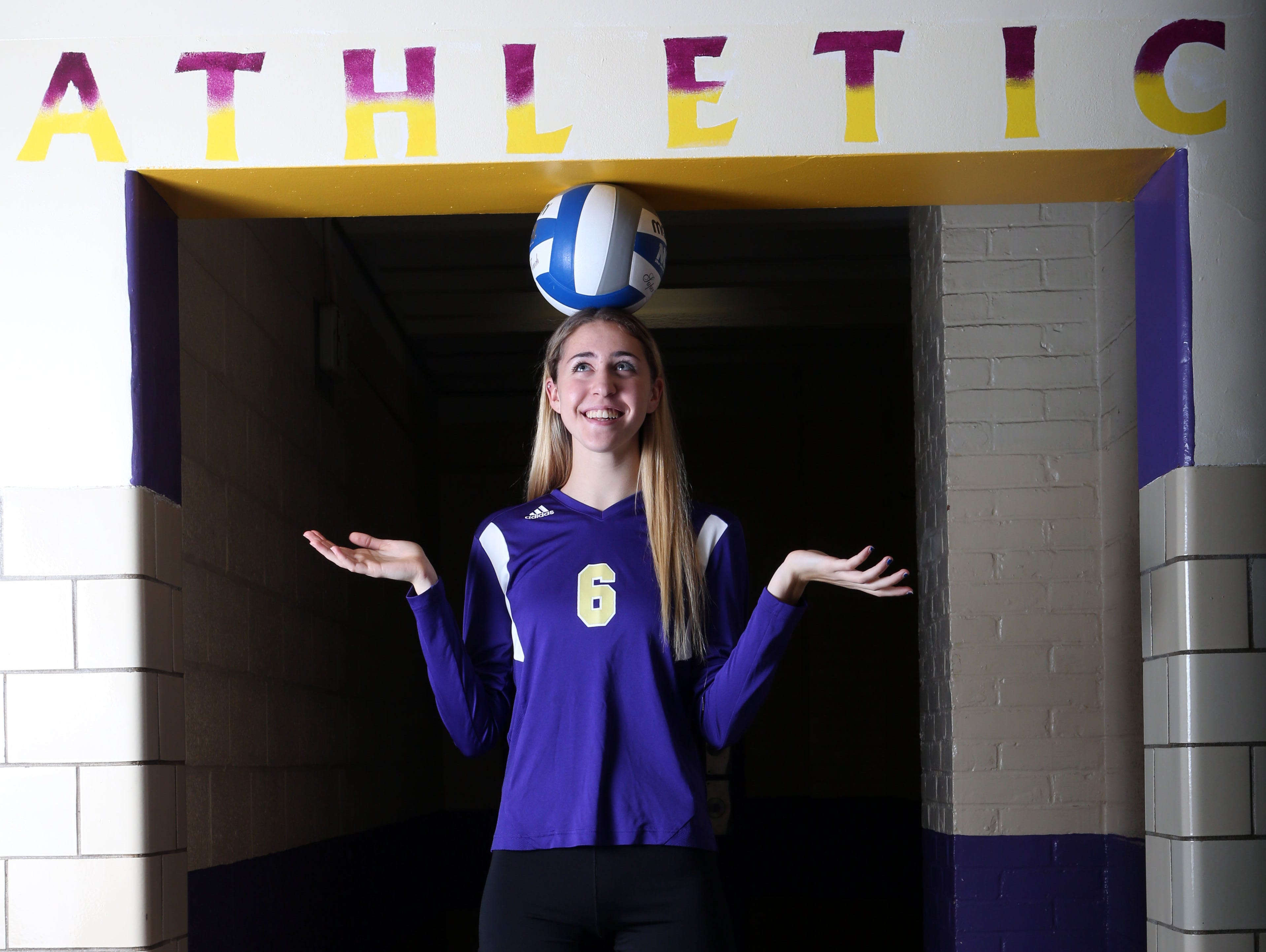 Kelly Chaney, a senior at Clarkstown High School North, is the Rockland volleyball player of the year. Photographed at the school in New City, Nov. 28, 2015.