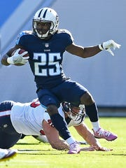 Titans cornerback Adoree' Jackson (25) moves up field in the first quarter Dec. 3.