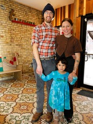 Owners David, Debonne and Christie Melby-Gibbons of the Tricklebee Cafe in Milwaukee's Sherman Park neighborhood try to be as environmentally sustainable as possible.