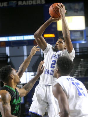 MTSU's Perrin Bufford (2) recorded a double-double in the win over FAU and will look to dominate in the season finale at Florida International.