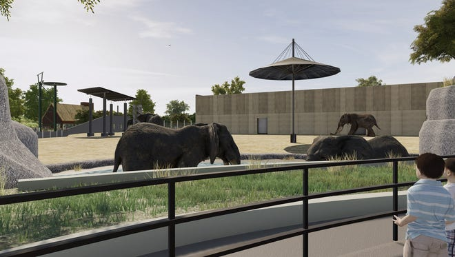 Rendering of the new watering hole to be a part of a new elephant exhibit at the Milwaukee County Zoo.