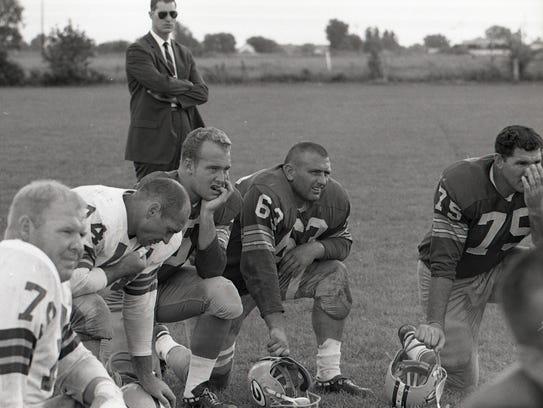 From upper left, Green Bay Packers center Jim Ringo