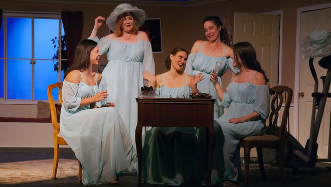 "The Camarillo Skyway Playhouse production of ""Five Women Wearing the Same Dress"" stars, from left, Kelly Whitaker, Kelsey Klinghoffer, Sarah Boughton, Julie Fergus and Maddie Boyd. The play runs through March 4."