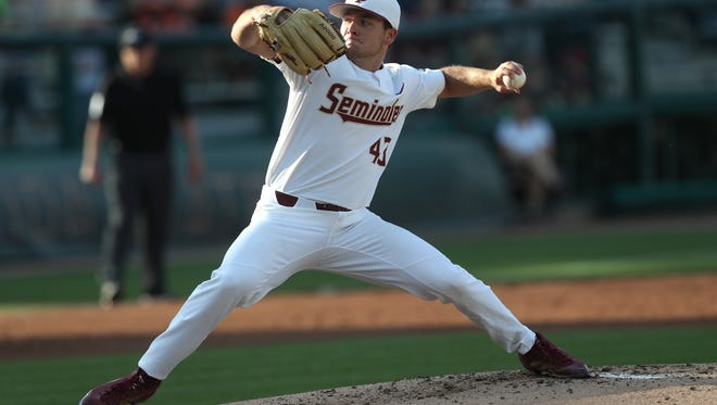 FSU's Drew Parrish pitches eight scoreless innings as the Seminoles defeat Miami 2-0 on Friday at Dick Howser Stadium.