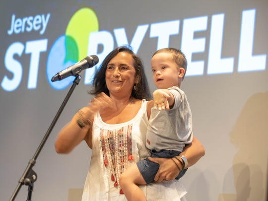 8/15/18- Mona Soliman with her 4 year old son Ozzie  at  Asbury Park Press storytellers on Love and Loss at The Asbury hotel. Asbury PArk NJ. Photo James J. Connolly
