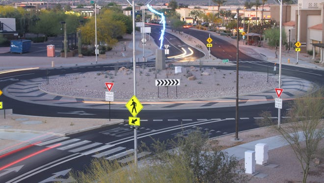 """""""Aspire,"""" by Tucson artists Simon Donavon and Ben Olmstead, was installed at Scottsdale's first completed roundabout at Hayden Road and Northsight Boulevard."""