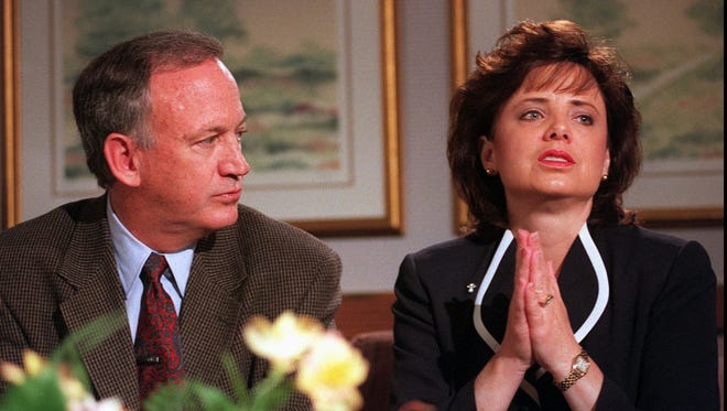 Patsy Ramsey with her husband, John, during an interview on May 1, 1997.