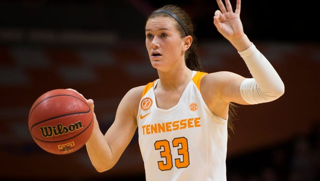 Tennessee's Alexa Middleton (33) gestures to her teammates during the second half against Florida at Thompson-Boling Arena on Thursday, Feb. 23, 2017. Tennessee defeated Florida 74-70.