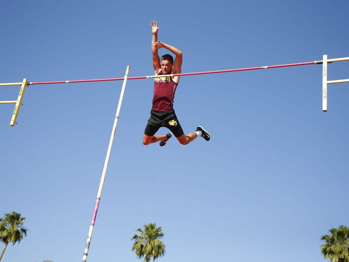 Salpointe's Andrew Ference competes in pole vault during