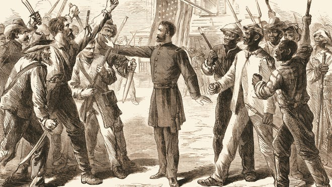 An engraving shows an agent from the Freedmen's Bureau as he separates two groups of armed men, one white and the other slaves in 1868.