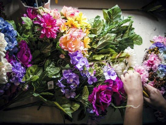 One of Jenn Kurtz's wreath designs is shown in her
